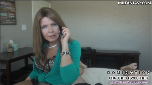 Domination For Your Own Good - Mom Jerks Off Son While On Phone With Dad
