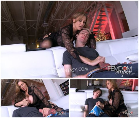 Julia Ann - Step-mom catches her step-son jerking off to porn in the living room
